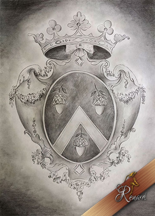 Charcoal drawing of a coat of arms