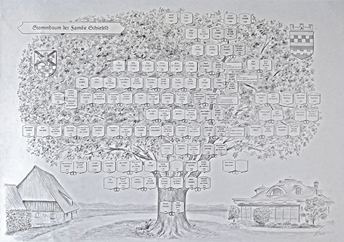large painted family tree- drawing